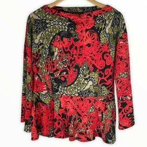 Nally & Millie Red Top Women's Petite Large